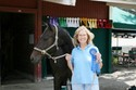 Joan shows off her blue ribbon from the 2'9