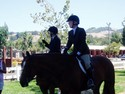 Debbie and Pippa await the results of the Chestnuts With Blazes Over Fences class.