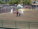 Hugh and Pippa walk the course before the final phase of the EMO Equitation Challenge