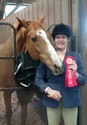Lisa and Sly won ribbons in Equitation, Hunters and Jumpers.